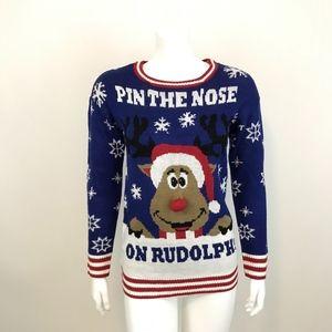 Ultra Flirt Pin the Nose on Rudolph Sweater XS